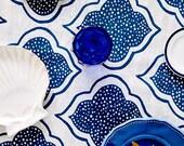Blue Lanterns linen tablecloth