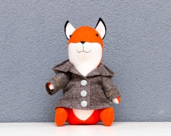 Fox plush, Mr Fox (toy, decoration, stuffed animal, plush, softie) with joined limps