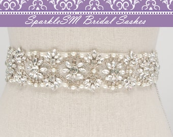 Rhinestone Crystal Bridal Belt Sash, Wedding Sash Belt, Bridal Accessories, Crystal Belt Sash Rhinestone Bridal Sash, SparkleSM - Leighton