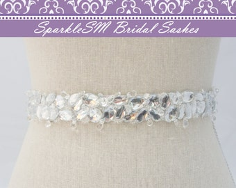 Rhinestone Crystal Bridal Belt Sash, Wedding Sash Belt, Bridal Accessories, Crystal Belt Sash Jeweled Bridal Belt, SparkleSM Bridal, Emma