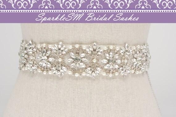 Rhinestone Crystal Bridal Belt Sash, Wedding Sash Belt, Bridal Accessories, Crystal Belt Sash Rhinestone Bridal Sash, SparkleSM - Leighton