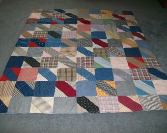 Vintage Fabric Patchwork Quilt with New Padding and Back- 65 X 80 Inches-FREE SHIPPING
