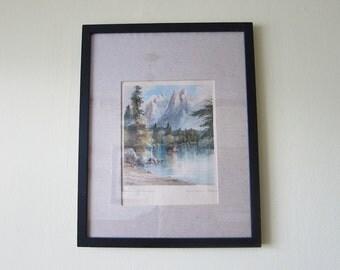 Vintage German Watercolor of Badersee Lake & Waxenstein Mountains