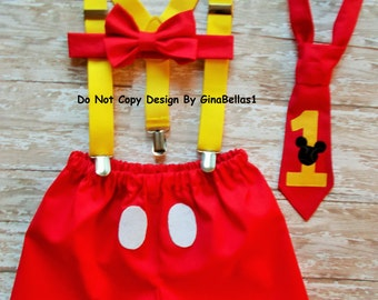 Mickey Mouse Birthday cake smash outfit suspenders 1st clubhouse shorts bow tie OR I am one necktie optional hat 12 18 24 toddler