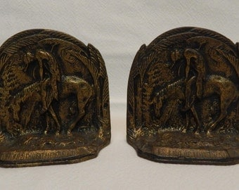 "Vintage High Relief Cast Iron Bookends ""The End Of The Trail"" Home Decor"