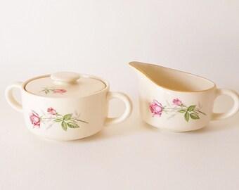 Vintage China Covered Sugar Bowl and Creamer Set handled Sugar Bowl Matching Small Pitcher Floral China Sugar Creamer Set American Rose