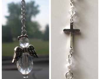 Cross Guardian Angel Car Charm, Angel Sun Catcher