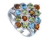 Multi Color Gems Stone Women Ring. 925 Sterling Silver ring