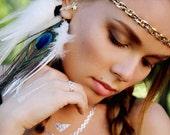 Feather Ear Cuff, Ear Cuff, Feather Earrings, Hippie, Bohemian, Hair Headpiece, Festivals, OOAK