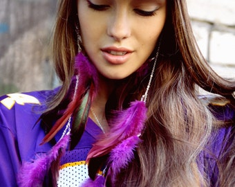 Feather Earrings, Long Feather Earrings, Extra Long Feather Earrings, Purple Feather Earrings
