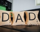 DAD --- Set of 3 SCRABBLE LETTER decorative christmas pillow cases cushion covers -- choose any 3 letters