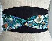 Geometric print obi belt, black brocade obi belt sash, orange asian brocade, reversible obi sash, purple green waist cincher