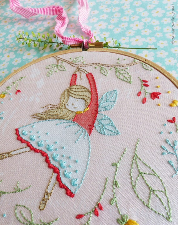 Embroidery kit hand embroidery flying fairy fairy nursery embroidery kit hand embroidery flying fairy fairy nursery christmas gift for her girl gift ideas craft kits girls hoop art diy kit solutioingenieria Images