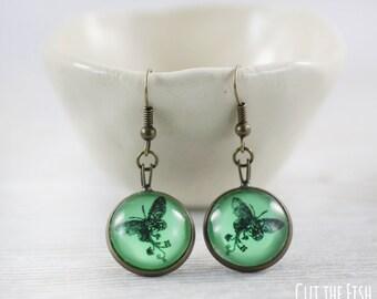 Mint Earrings - Earrings - Mint Jewelry - Green Earrings - Butterfly Earrings - Butterfly Jewelry - Art Jewelry (0-48E)