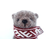 Needle felted Bear brooch with Etno scarf; gift for friend, in the box, hand made brooch