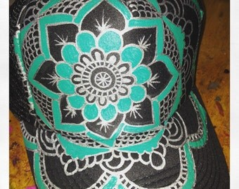 Slate grey trucker with hand painted silver/turqouise full mandala