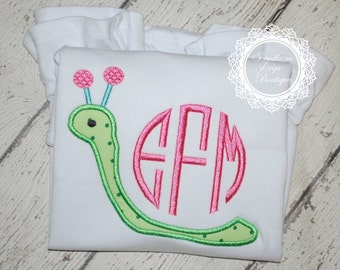 Girl's Snail Monogram Applique - Summer Shirt - Monogram - Girl's Design - Birthday