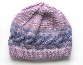 Girls Retro HANDMADE Lilac Cable Knitted Wool Beanie Hat . A Great Gift Idea . Size - Age: 3 4 5 . OOAK , Made in Australia