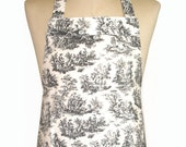 French Toile Style Floral Fabric 'Kitchen Basics' Woman's / Ladies Apron - Birthday, Christmas Gift Idea . HANDMADE .