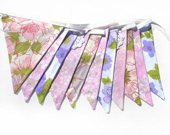 Vintage Retro 'Purple pink and Green Floral' & lace Flag Bunting. Home Decoration Banner. Kitchen High Tea Party decor
