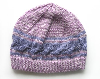 Girls Retro HANDMADE Lilac Cable Knitted Wool Beanie Hat . A Great Gift Idea . Size - Age: 3 4 5 6 7 . OOAK , Made in Australia