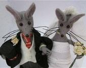Felt Wedding Mice Mouse Wedding Cake Topper - Handmade Bride & Groom Mice Mouse - FULLY CUSTOMISABLE