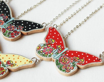 Cute necklace,statement necklace ,floral necklace,colorful butterfly necklace,wood necklace ,red necklace dotted ,woodland necklace