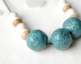Blue beaded necklace,long wood necklace