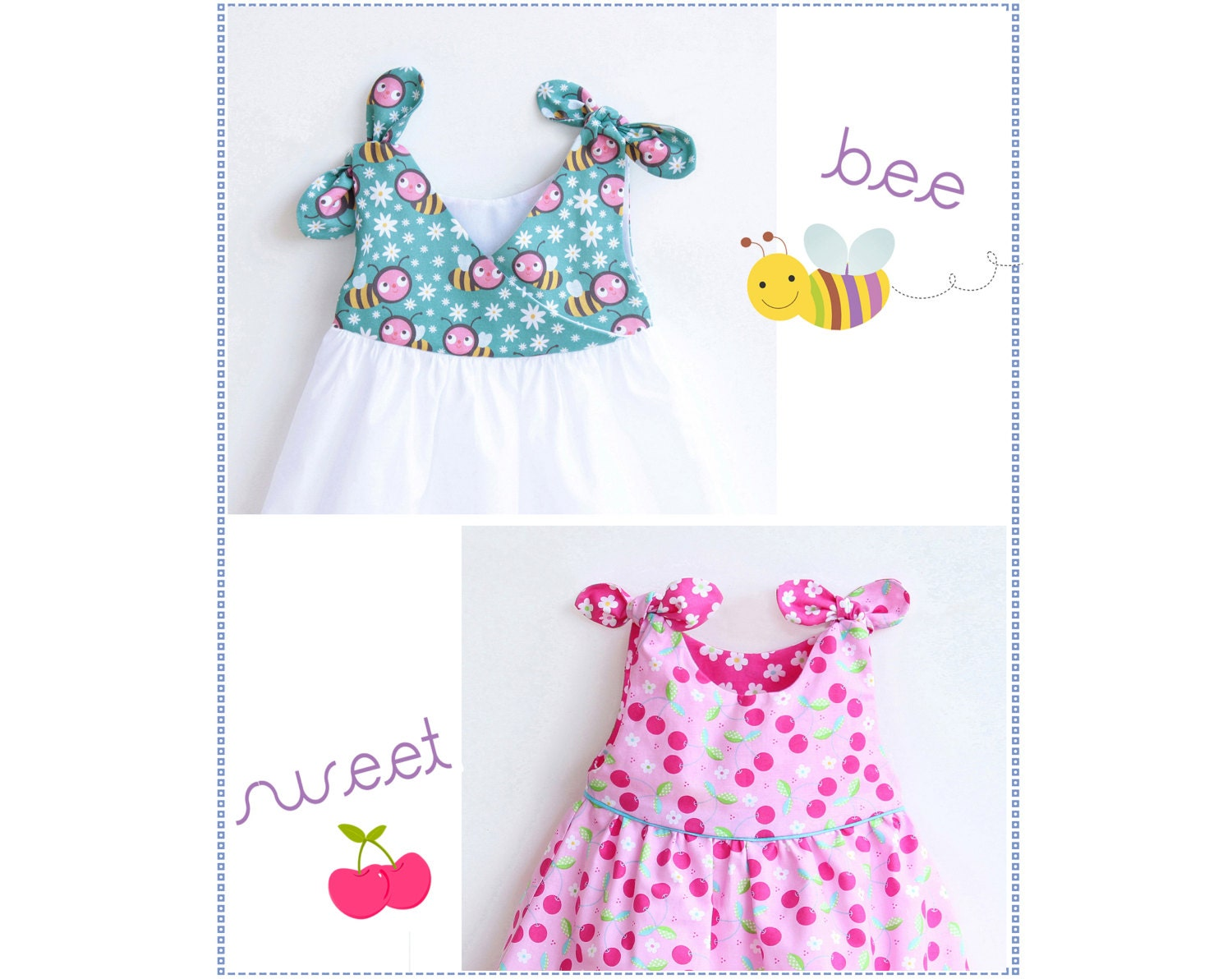 Baby Girl Dress sewing pattern Pdf Overall Knotted Dress