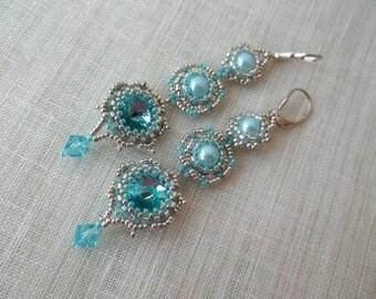 Blue and silver long dangle earrings. Earrings with Swarovski element.Bead work blue earrings. Bridal earrings.