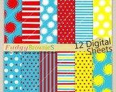 "ON SALE Dr Seuss Digital paper pack 12""x12"", kids birthday party background , No.155/2 printable background, Instant download"