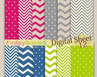 ON SALE Digital paper pack 7.5x11,scrapbooking , No.57 red, blue, green , grey  digital paper  Instant download