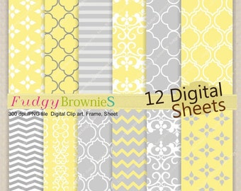 "ON SALE , digital paper pack ,Scrapbook paper , Digital paper background,12""x12"" , yellow gray , No.116/2 printable , yellow  instant dow"