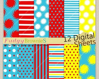 """ON SALE Dr Seuss Digital paper pack 12""""x12"""", kids birthday party background , No.155/2 printable background, Instant download"""