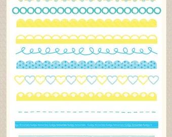 ON SALE Digital border, border frames clipart, digital scrapbooking border. B-03 blue yellow , Instant Download
