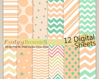 "ON SALE Digital paper background 12""x12"" , printable digital paper ,No.243/2, polkadots,peach & seafoam, green, summer color"