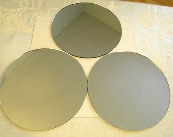 3 Round Mirrors for Crafts or Perfume Bottle Base - 8-1/2 inch