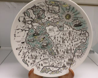 Vintage 60s Royal Doulton Plate Canadian Centennial 1867-1967 Map of TC 1037  Canada English Translucent China