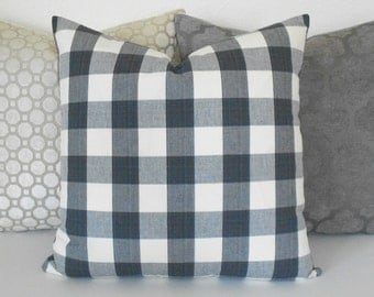 Black and ivory modern geometric buffalo check plaid decorative pillow cover