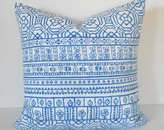 Bohemian stripe cobalt blue and white decorative pillow cover
