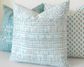Bohemian stripe aqua and white decorative pillow cover