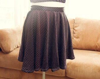 Dark Purple Polka Dot Circle Skirt // Size Small