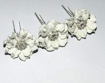 Bridal hairpins, white leather flower hairpins, set of 3