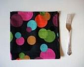 Cotton Dinner Napkins- Black Multi Color Bubbles, Circles Floating