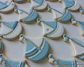Adorable Sailboat cookies for baby showers or birthday parties (#2415)