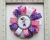 Minnie Mouse Loopy Bottle Cap Hair Bow - Pink, Purple & White Dots - Minnie Mouse Birthday Theme Gift or Party Favor