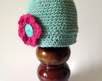Aqua baby hat, changeable flower hat, crocheted baby hat, removable flower