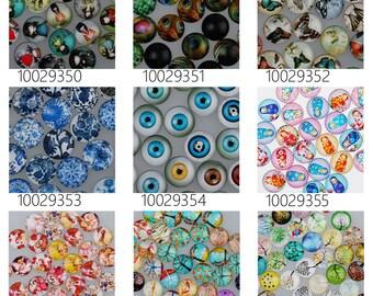 50PCS 16mm Mixed Round Flat Back Handmade Photo Glass Cabochon - Image Glass Cabochons 100293