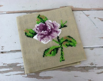Vintage Purple Rose Needlepoint - Retro Partial Floral on Canvas + Craft Supply by Matincor, Purple Vintage Floral Project, Finish a Craft