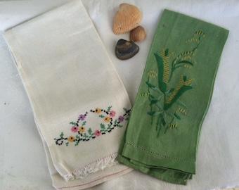 2 Antique Embellished Tea Towels, A Collection - Vintage Hand Embroidered Linen Finger Towel, Linen Gift, Linen Collector, Antique Linen Set